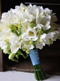 diy freesia wedding flower bouquet