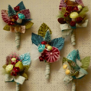 blue and brown christmas wedding boutonnieres