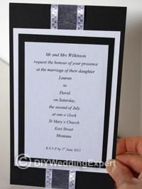 a diy black and white wedding invitation