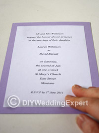 Lining up diy wedding invation wording