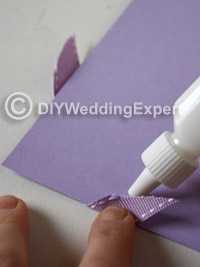 how to glue ribbon to a diy wedding invitation