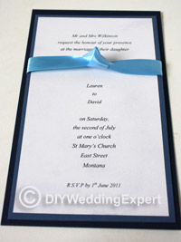 diy wedding invitation using ribbon detailing