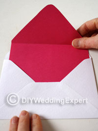 adding color coordinated paper liners to an envelope