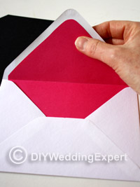 a lined wedding envelope in wedding color scheme