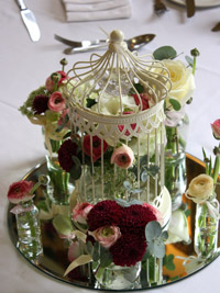 diy birdcage wedding centerpiece on a table