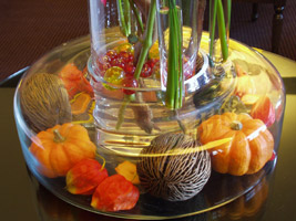 gauges used in a fall wedding centerpiece
