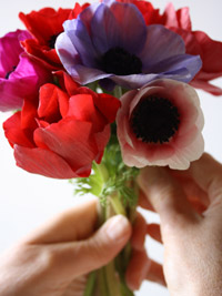 a photo showing how to practice making your diy wedding flowers