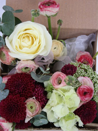 wedding flowers boxed to take to the wedding reception