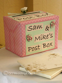 a personalized wedding card posting box