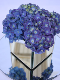 hydrangea arranged into a blue wedding centerpiece