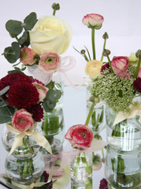 vintage wedding flowers in a low centerpiece