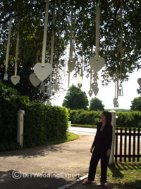 outside wedding decorations hanging in a tree