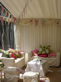 relaxing area in a wedding tent