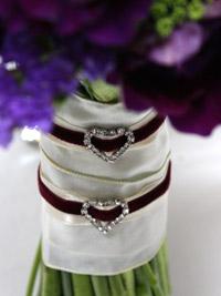 velvet ribbon detailing on a bridal bouquet