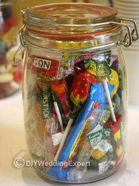 sweet in a jar for a wedding candy bar
