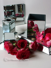 mirrors and roses ready to create a wedding cupcake stand
