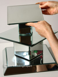 building a diy wedding cupcake stand using mirrors