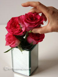 making a pink rose topper for a diy wedding cake stand