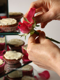adding pink rose petals to decorate a wedding cake stand