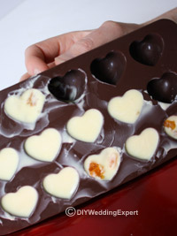 white chocolates in a heart shaped mould