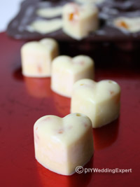 heart shaped white chocolate wedding favors