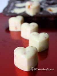 heart shaped white chocolate wedding favors