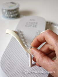 adding diamantes to bridal flip flops