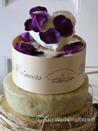 a wedding cake made out of cheese