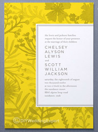 yellow wedding invitations with a flower pattern