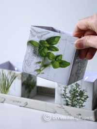 boxes for a herb wedding centerpiece