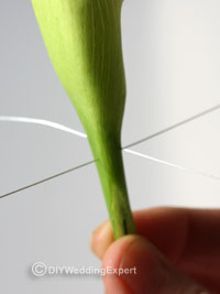 silver wires for a calla lily buttonhole