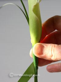 adding beargrass to a calla lily buttonhole